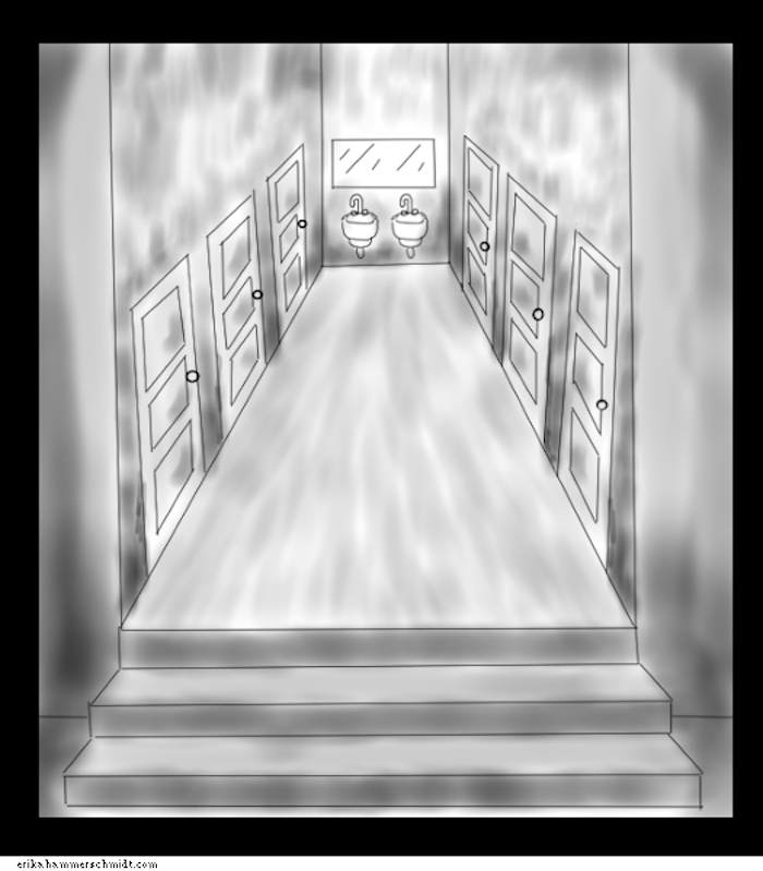 This is a drawing I did from memory  of a bathroom in a local theater here in MN  See how each stall is its own little room  with thick walls. Having a sh t in  Why sex segregated bathrooms hurt all of us